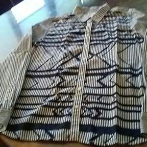 Tribal print. & stripe blouse L